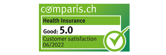 Label from comparis.ch: customer satisfaction with health insurers, score: good (5.2)